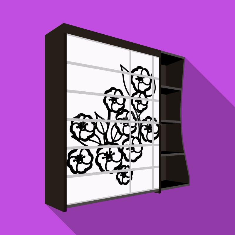 Черный шкаф спальни с клетками Шкаф с красивым поднял на дверь Значок мебели спальни одиночный в плоском стиле иллюстрация вектора