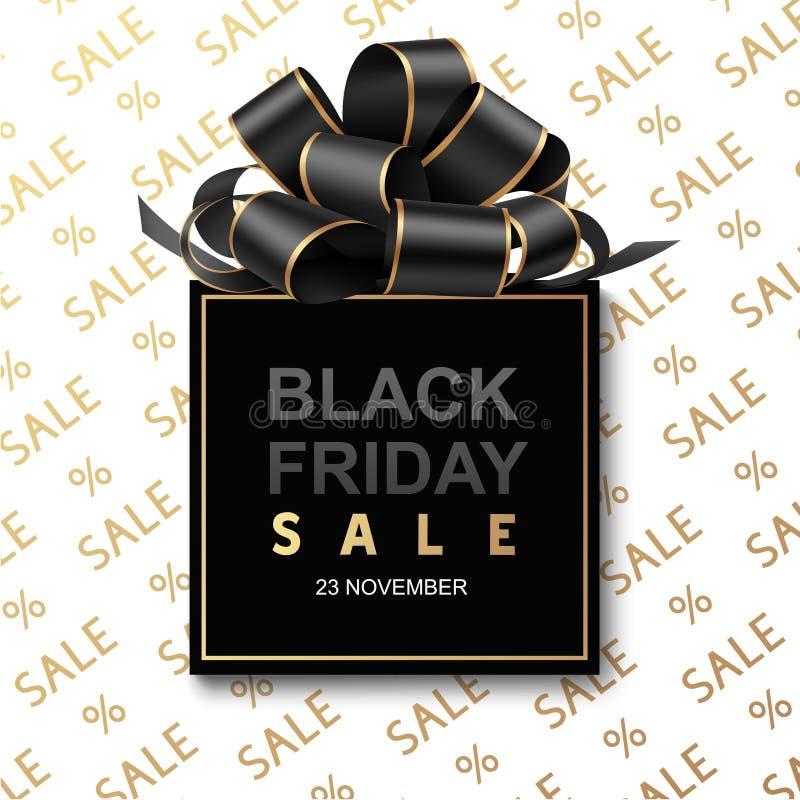 Черный ярлык продажи пятницы с декоративным смычком иллюстрация штока