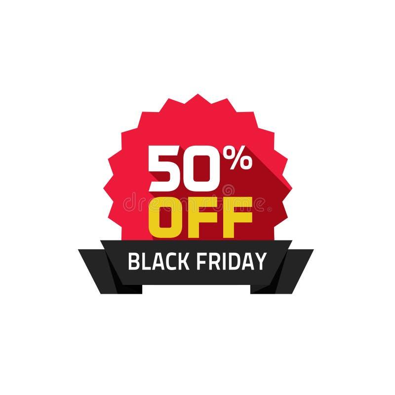 Черный ярлык продажи пятницы, процент 50 с специального значка дела бесплатная иллюстрация