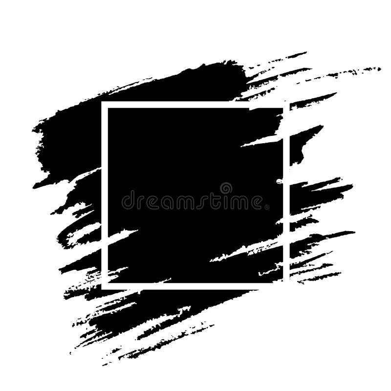 Черный brushstroke краски с текстурой grunge рамки иллюстрация штока