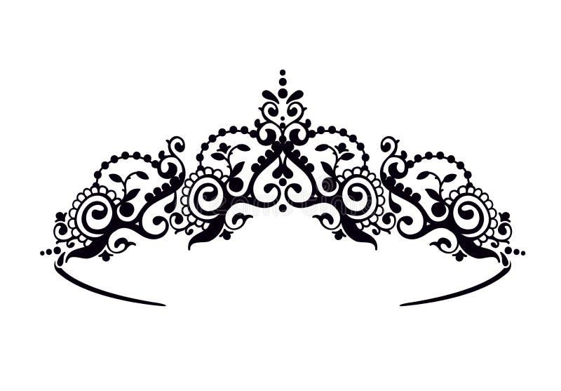 Черный diadem принцессы на предпосылке Уайта Крона также вектор иллюстрации притяжки corel бесплатная иллюстрация