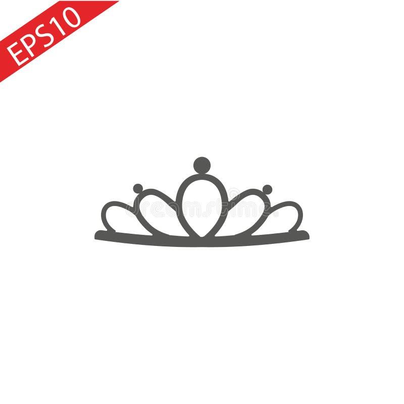 Черный diadem принцессы на предпосылке Уайта Крона также вектор иллюстрации притяжки corel иллюстрация штока