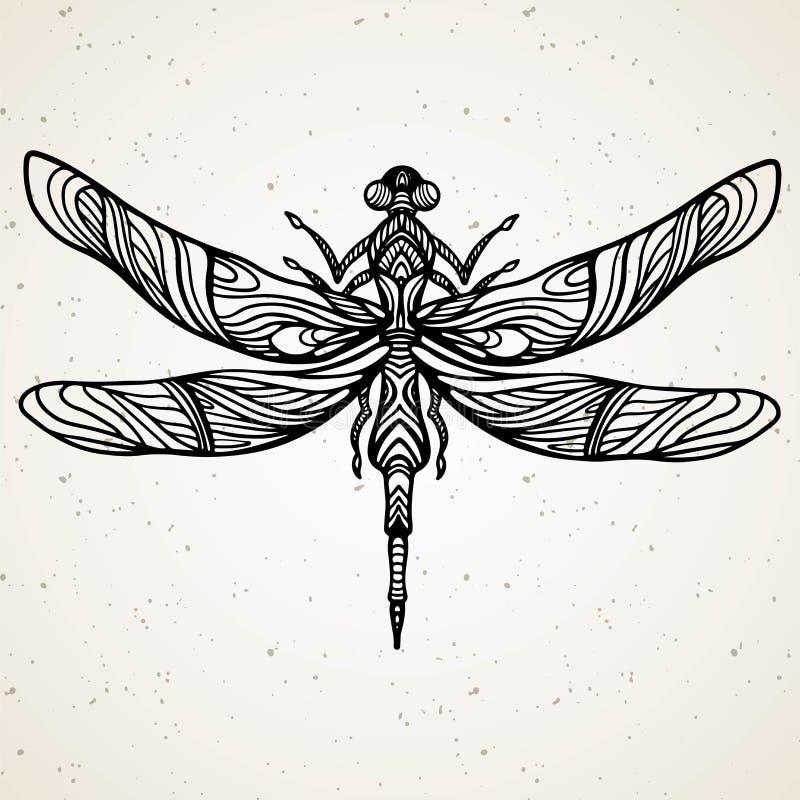 Черный dragonfly на белой изолированной предпосылке Нарисованная вручную иллюстрация вектора иллюстрация штока