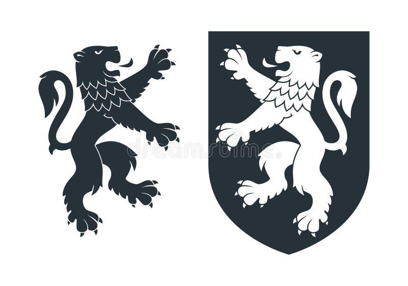 Черный heraldic необузданный лев 02 иллюстрация штока