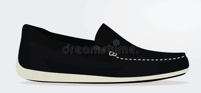 Черный loafer, взгляд со стороны иллюстрация вектора