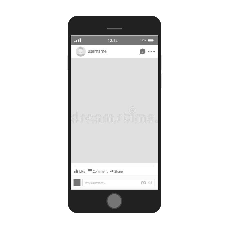 Черный smartphone с социальной рамкой фото сети конструкция самомоднейшая иллюстрация вектора