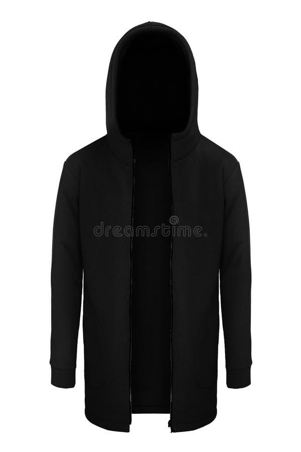 Черный tracksuit unzipped с клобуком стоковое фото