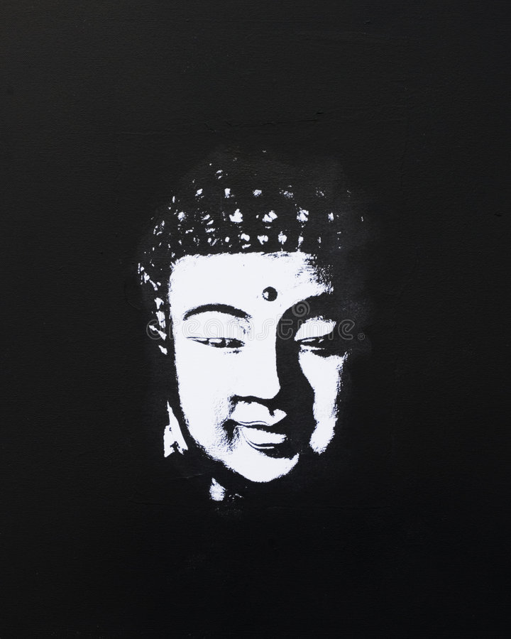 черный whit картины Будды иллюстрация вектора