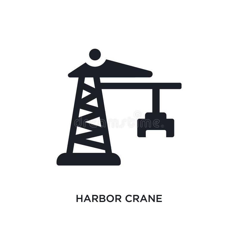черным значок вектора гавани изолированный краном простая иллюстрация элемента от значков вектора концепции индустрии кран гавани иллюстрация штока
