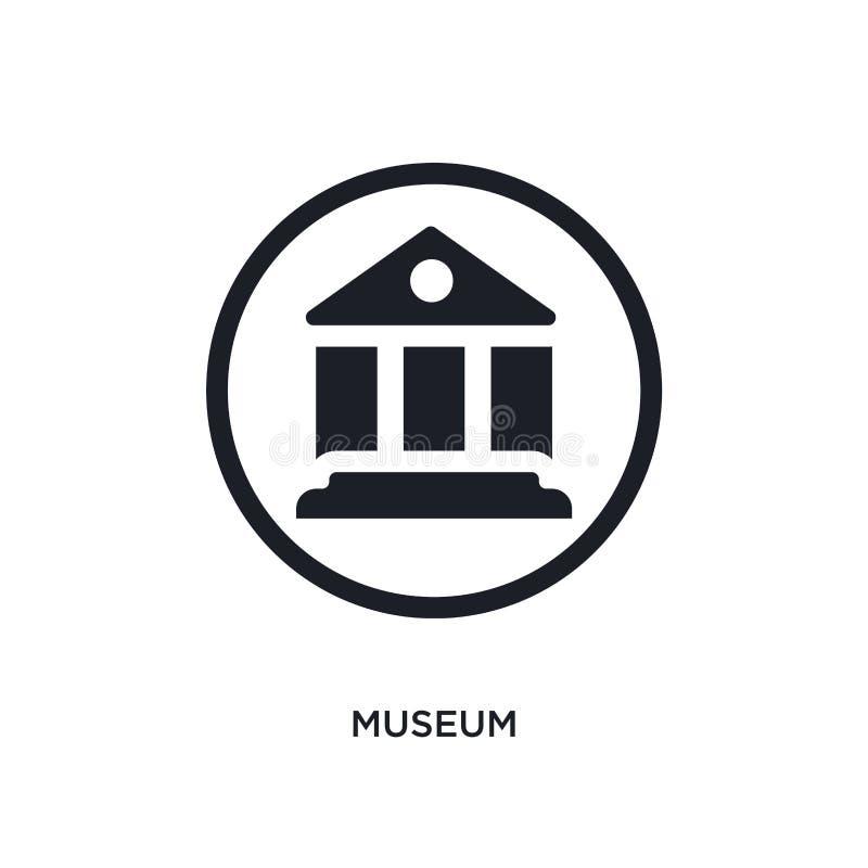 черным изолированный музеем значок вектора простая иллюстрация элемента от значков вектора концепции дорожных знаков логотип музе иллюстрация вектора