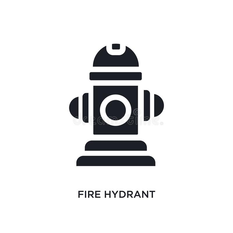 черным изолированный пожарным гидрантом значок вектора простая иллюстрация элемента от значков вектора концепции Соединенных Штат иллюстрация штока