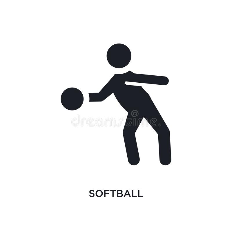 черным изолированный софтболом значок вектора простая иллюстрация элемента от значков вектора концепции спорта символ логотипа со иллюстрация вектора