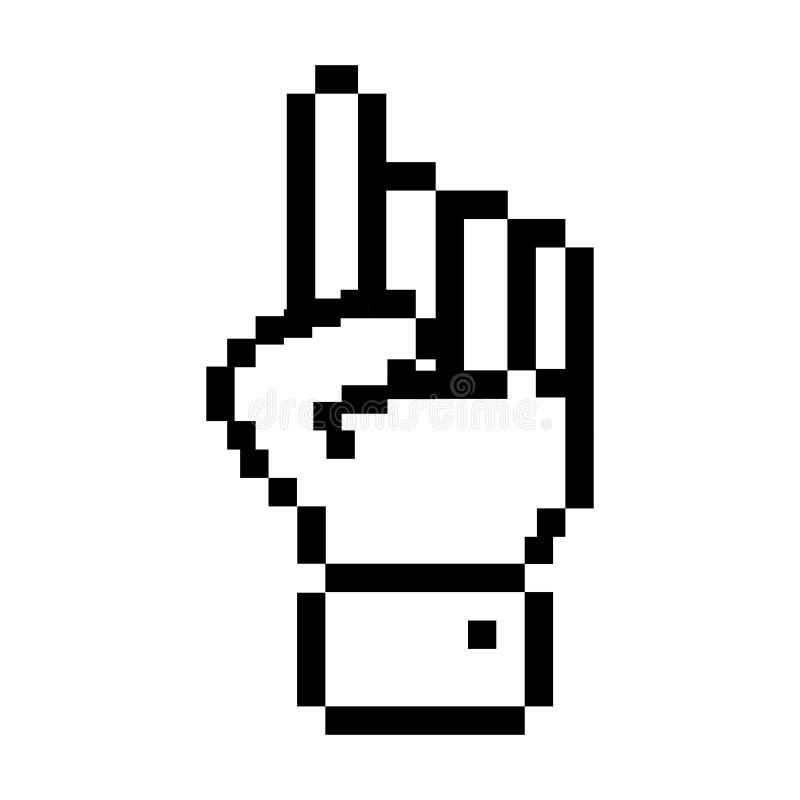 Черным рука pixelated планом указывая вверх иллюстрация вектора