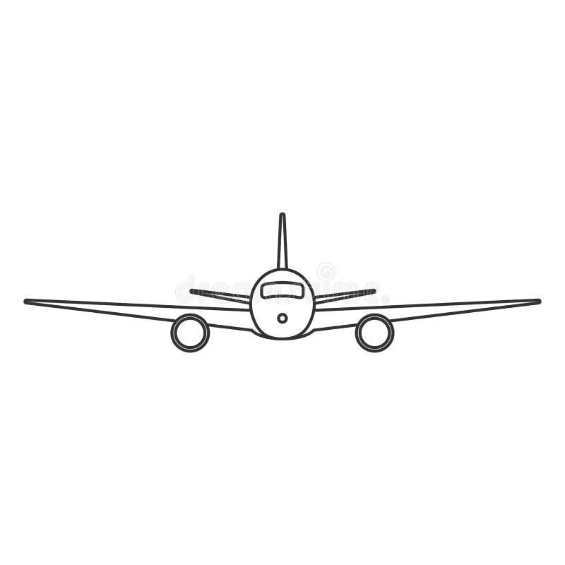 Черным самолет изолированный планом на белой предпосылке Линия вид спереди аэроплана иллюстрация штока