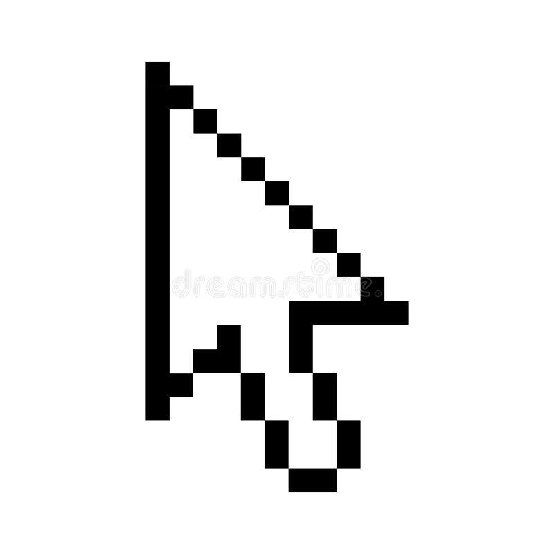 Черным pixelated планом стрелка курсора иллюстрация вектора