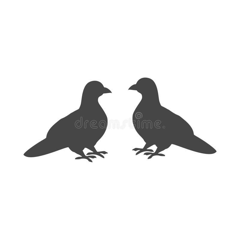 2 черных голубя значок или логотип иллюстрация штока