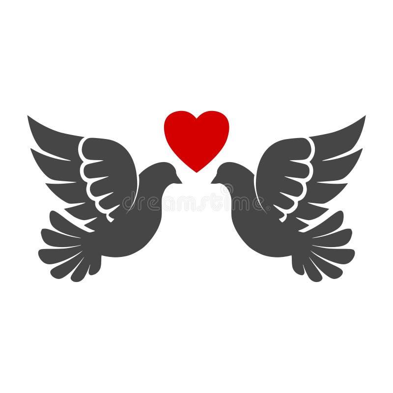 2 черных голубя значок или логотип иллюстрация вектора