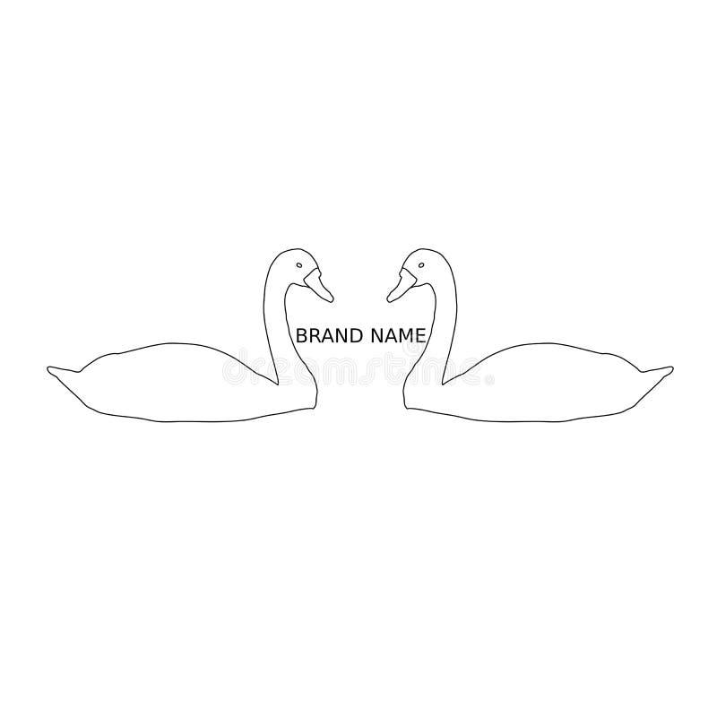 2 черных лебедя на белой предпосылке иллюстрация вектора