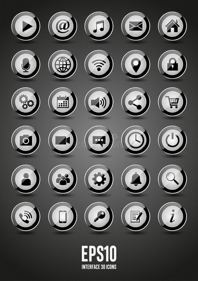 30 черных лоснистых значков интерфейса иллюстрация штока