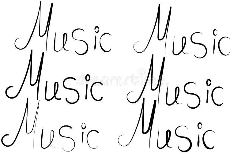 6 черных надписей слов музыки написанных в различных стилях и письмах на белой предпосылке в центре бесплатная иллюстрация