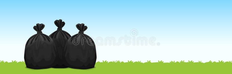 3 черных пластиковых сумки отброса на предпосылке голубого неба травы, сумки отброса для отхода, отхода полиэтиленового пакета за иллюстрация штока