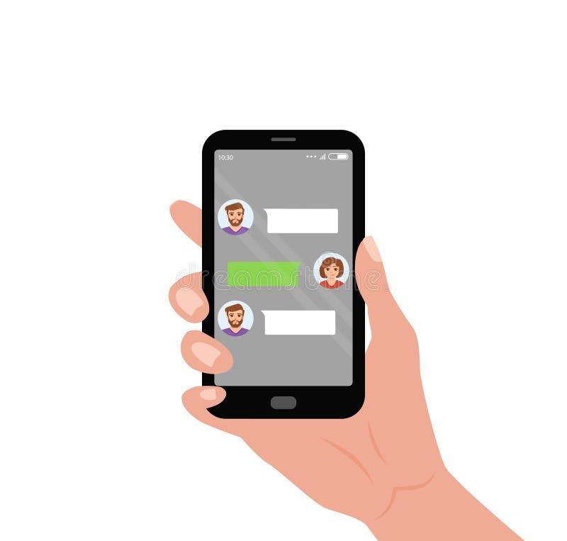 Чернь удерживания руки с приложением в реальном маштабе времени посыльного болтовни на экране иллюстрация штока