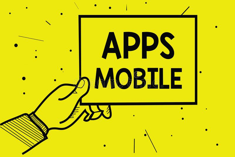 Чернь Apps текста сочинительства слова Концепция дела для компьутерной программы конструировала побежать на руке человека прибора бесплатная иллюстрация