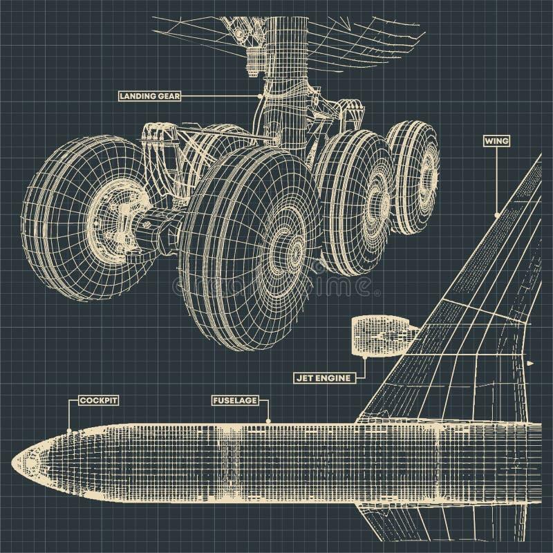 Чертежи авиалайнера двигателя в ретро стиле иллюстрация вектора