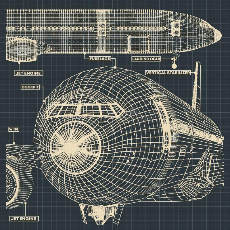 Чертежи гражданских самолетов бесплатная иллюстрация