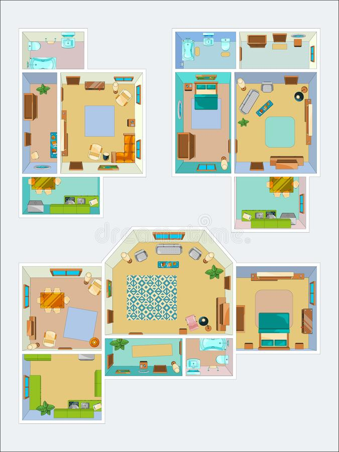Чертежи для плана квартиры Изображения вектора взгляд сверху кухни, ванной комнаты и живущей комнаты бесплатная иллюстрация