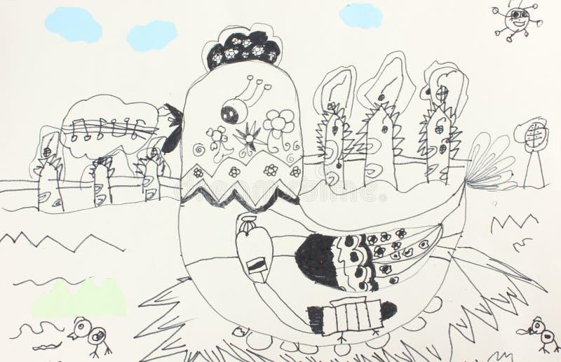 чертежи детей иллюстрация вектора