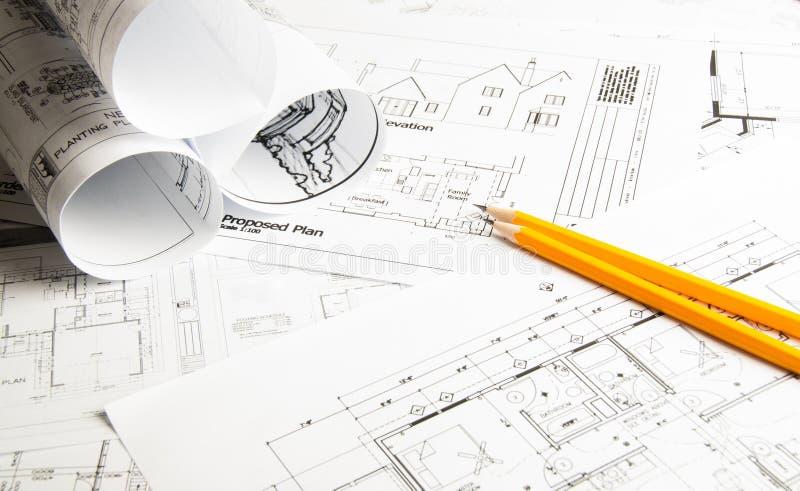Чертежи планирования конструкции стоковая фотография rf