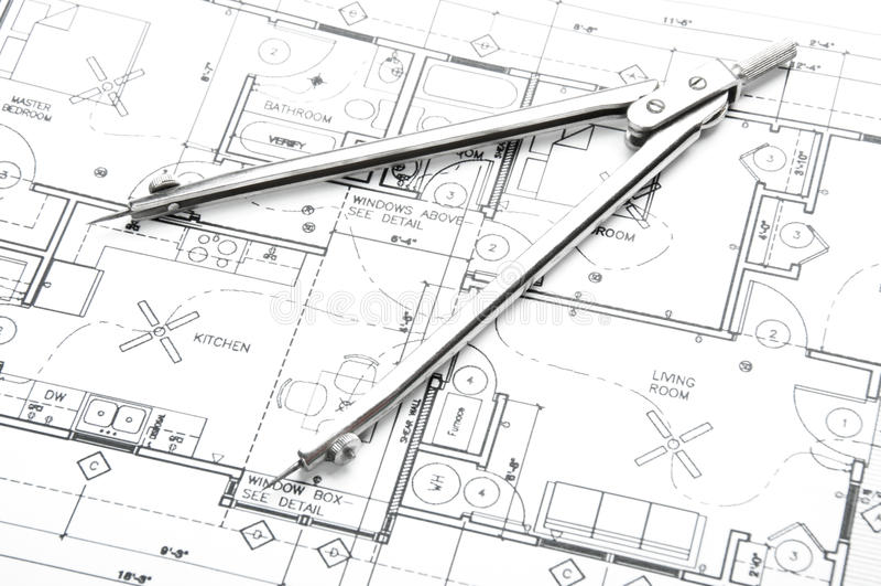Чертежи планирования конструкции стоковые фото