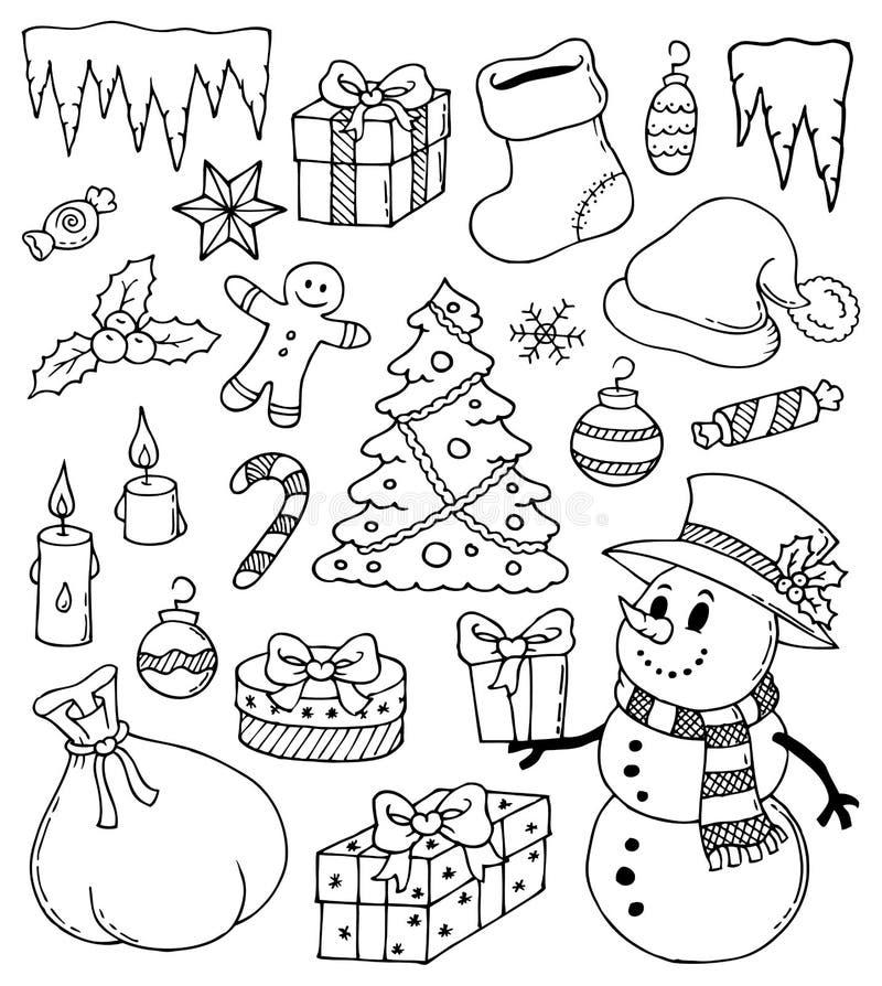 Чертежи 3 рождества стилизованные иллюстрация вектора