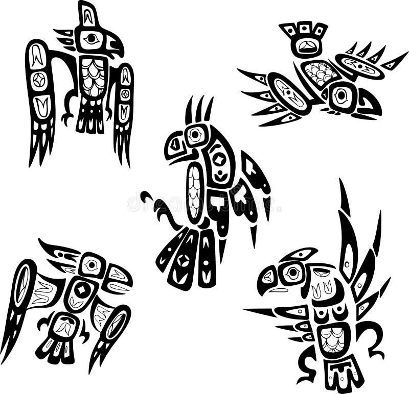 Чертежи родного индийского Шошон племенные птиц иллюстрация штока