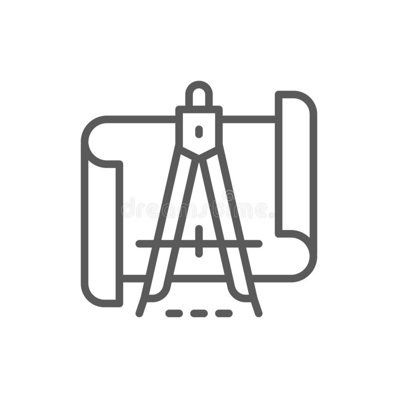 Чертежи с линией значком рассекателя иллюстрация вектора