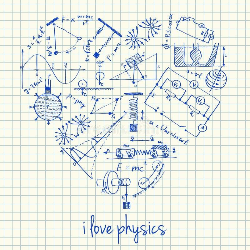 Чертежи физики в форме сердца иллюстрация штока