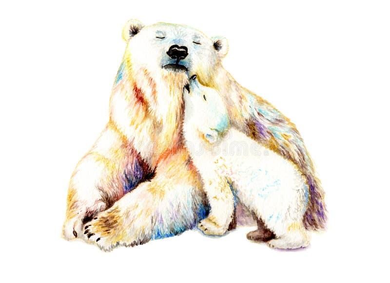 Чертеж акварели с медведем и младенцем иллюстрация штока