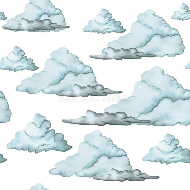 Чертеж акварели, безшовная картина, голубые облака на белой предпосылке, большом изображении иллюстрация вектора