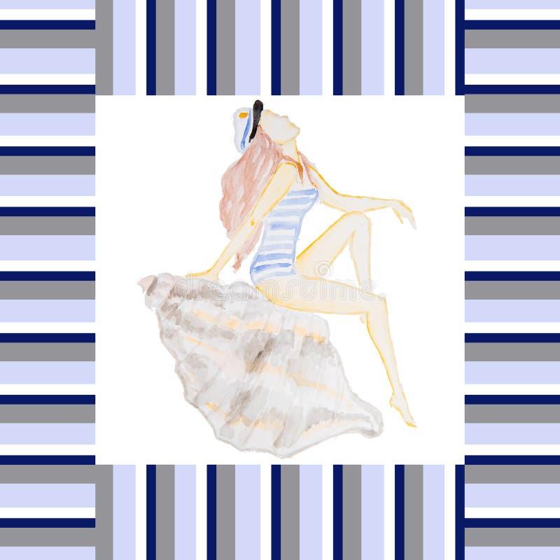 Чертеж акварели девушки бесплатная иллюстрация
