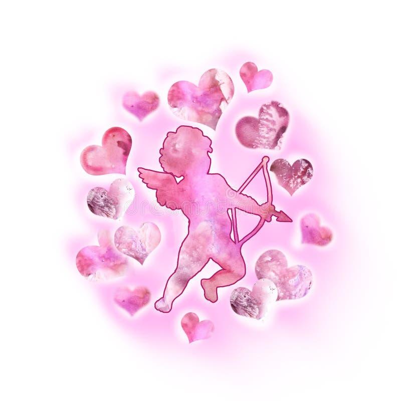 Чертеж акварели купидона, ангела влюбленности с крылами в небе Дизайн поздравительной открытки дня валентинки Святого добавьте те иллюстрация вектора
