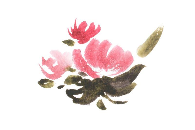 Чертеж акварели свежего сада цветет, картина aquarelle букета луга лета бесплатная иллюстрация