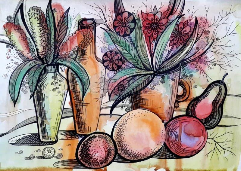 Чертеж акварели с цветками и плодоовощами иллюстрация вектора