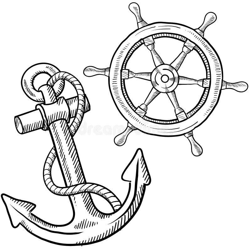 чертеж анкера грузит колесо бесплатная иллюстрация