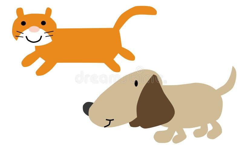 Иллюстрация шаржа кота и собаки бесплатная иллюстрация