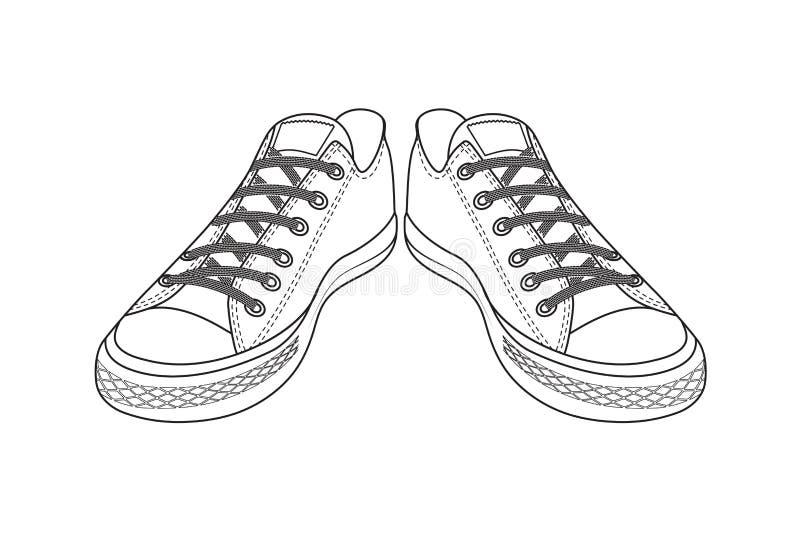 Чертеж ботинок спорт обувь молодости легкая иллюстрация вектора