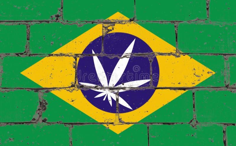 Чертеж брызг искусства улицы граффити на восковке Лист конопли на кирпичной стене с флагом Бразилией бесплатная иллюстрация