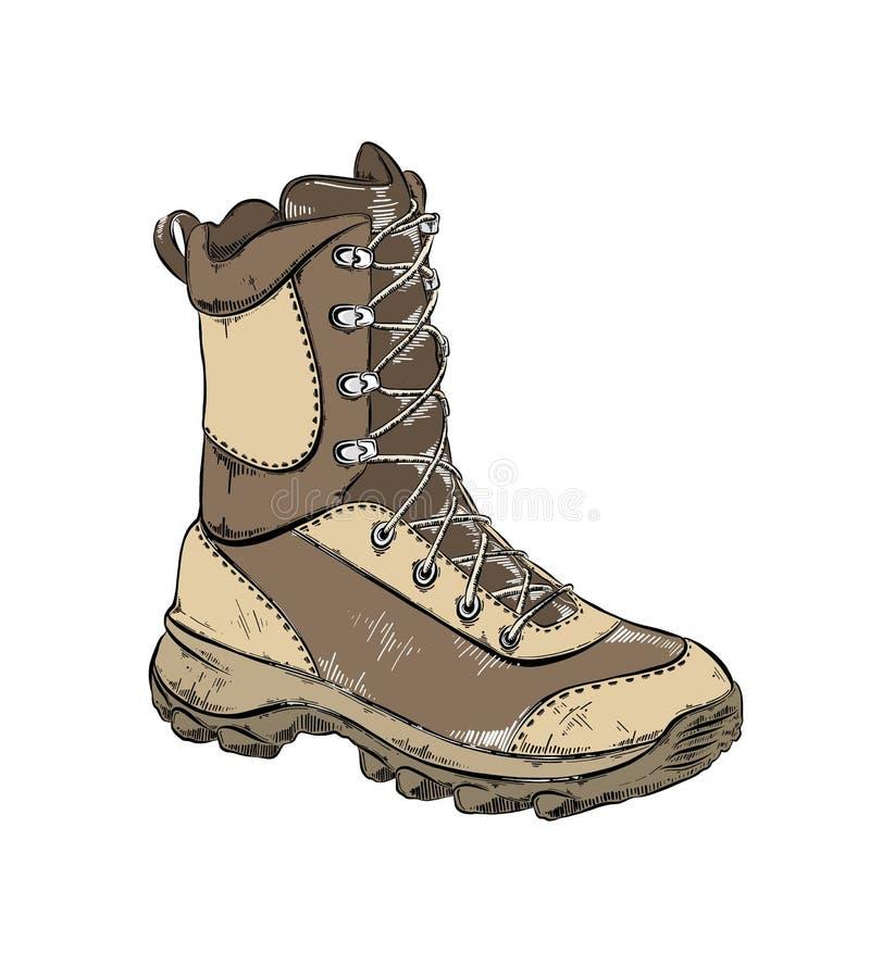 Чертеж вектора ботинка в коричневом цвете, изолированный на белой предпосылке r r бесплатная иллюстрация