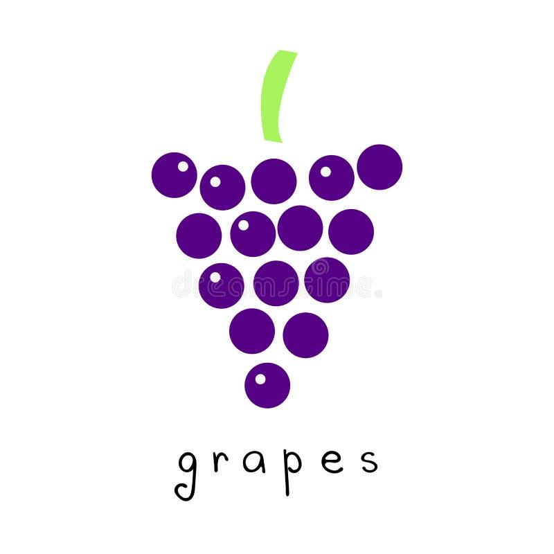 Чертеж вектора виноградин в современном простом дизайне иллюстрация вектора