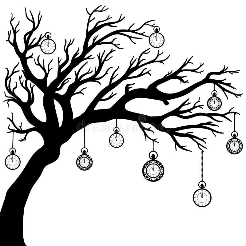 Чертеж вектора дерева с часами бесплатная иллюстрация